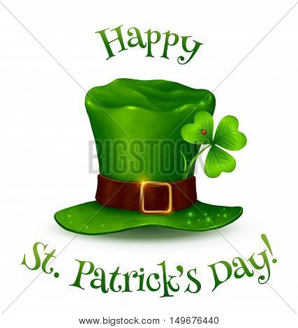 Realistic vector Leprechauns green hat with Happy St. Patricks Day sign.