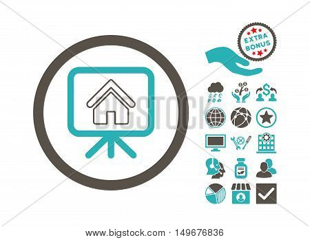 Project Slideshow pictograph with bonus pictures. Vector illustration style is flat iconic bicolor symbols grey and cyan colors white background.