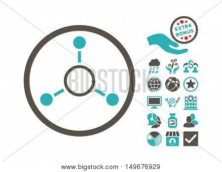 Radial Structure pictograph with bonus pictograph collection. Vector illustration style is flat iconic bicolor symbols, grey and cyan colors, white background.