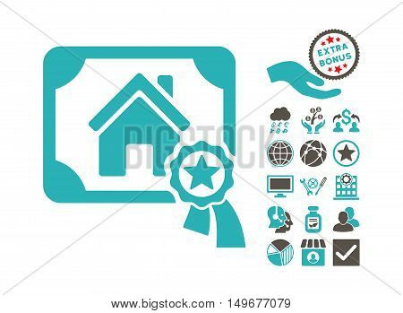 Realty Certification pictograph with bonus symbols. Vector illustration style is flat iconic bicolor symbols, grey and cyan colors, white background.