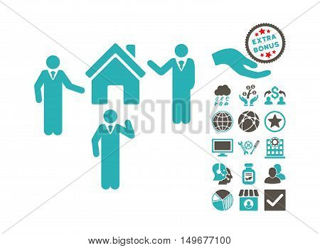 Realty Discuss Persons pictograph with bonus symbols. Vector illustration style is flat iconic bicolor symbols, grey and cyan colors, white background.