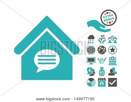 Realty Message pictograph with bonus pictures. Vector illustration style is flat iconic bicolor symbols, grey and cyan colors, white background.
