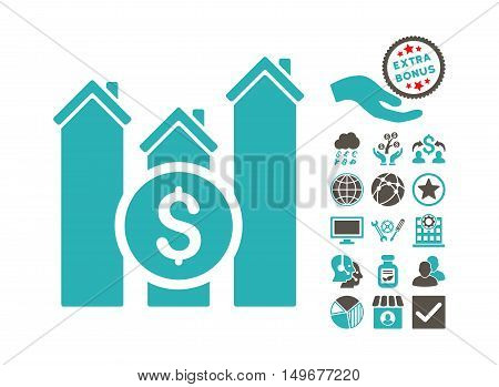 Realty Price Charts icon with bonus images. Vector illustration style is flat iconic bicolor symbols, grey and cyan colors, white background.
