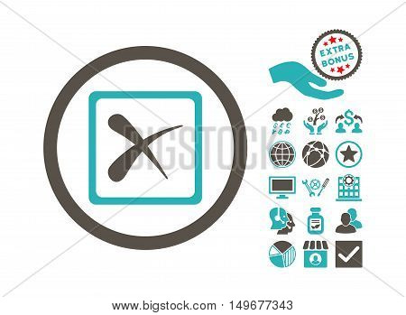 Reject icon with bonus images. Vector illustration style is flat iconic bicolor symbols, grey and cyan colors, white background.