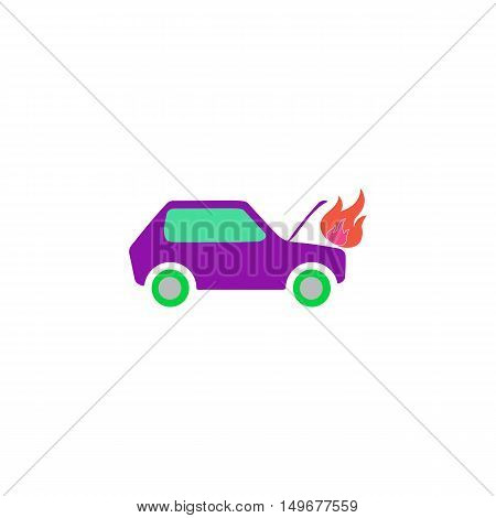 Car fire Icon Vector. Flat simple color pictogram