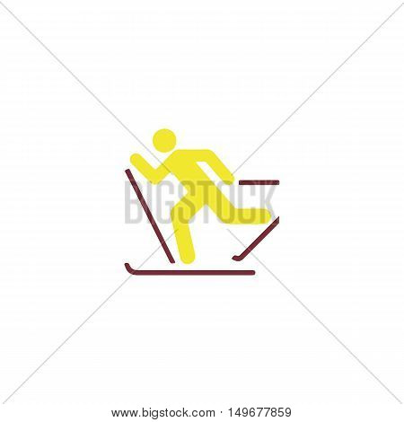 Skiing Icon Vector. Flat simple color pictogram