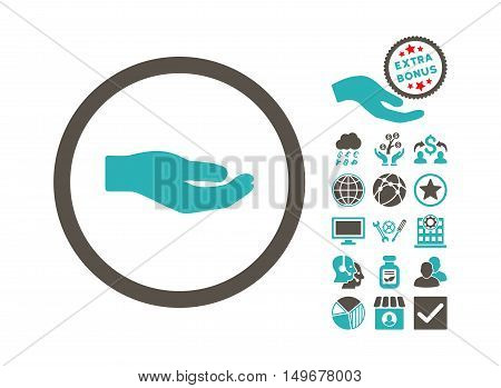 Share Hand pictograph with bonus pictures. Vector illustration style is flat iconic bicolor symbols, grey and cyan colors, white background.