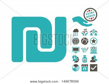 Shekel icon with bonus elements. Vector illustration style is flat iconic bicolor symbols, grey and cyan colors, white background.