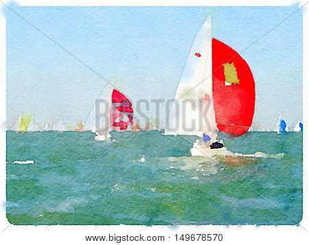 A digital watercolor painting of a sailing boats in the sea racing with their sails up and with space for text.