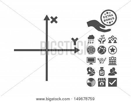 Cartesian Axes pictograph with bonus pictograph collection. Vector illustration style is flat iconic symbols gray color white background.