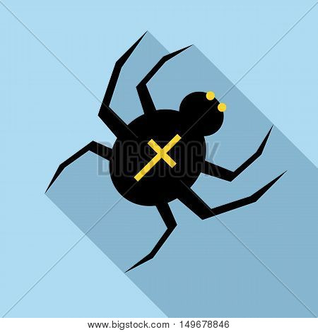 Spider icon in flat style with long shadow. Insect symbol vector illustration