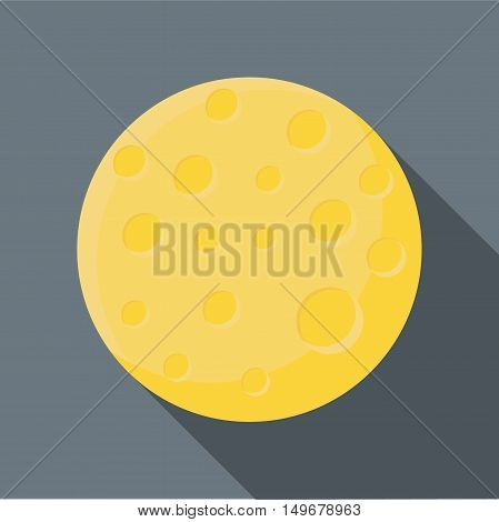 Moon icon in flat style with long shadow. Night symbol vector illustration