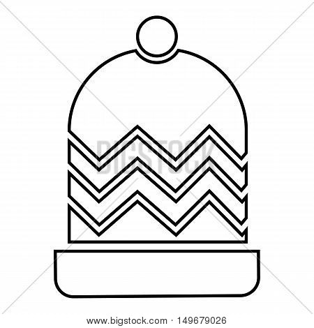 Winter hat icon in outline style isolated on white background. Accessory symbol vector illustration