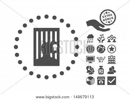 Closed Prisoner icon with bonus pictogram. Vector illustration style is flat iconic symbols gray color white background.