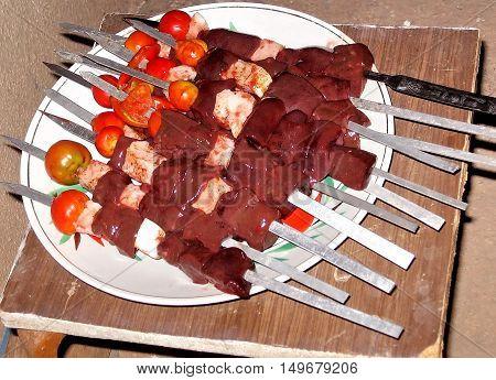 Shish kebab preparation on a brazier in village Mayskiy Uzbekistan
