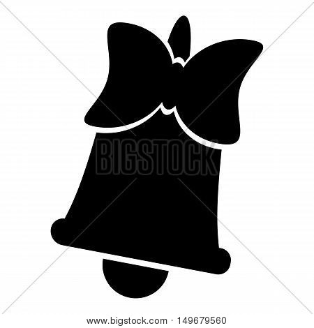 Bell with bow icon in simple style isolated on white background. Ring symbol vector illustration