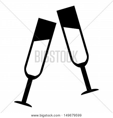 Two glasses of champagne icon in simple style isolated on white background. Drink symbol vector illustration