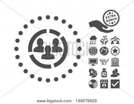 Demography Diagram icon with bonus elements. Vector illustration style is flat iconic symbols gray color white background.