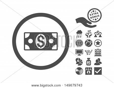 Dollar Banknote icon with bonus pictogram. Vector illustration style is flat iconic symbols, gray color, white background.