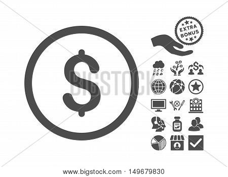 Dollar pictograph with bonus design elements. Vector illustration style is flat iconic symbols, gray color, white background.