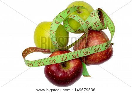 Fresh Red Apple Wrapped With Measuring Tape Isolated On White.