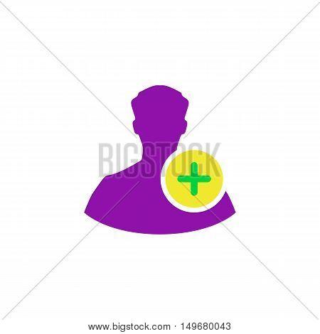 Add profile Icon Vector. Flat simple color pictogram