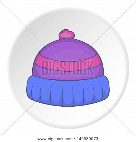 Winter hat icon in cartoon style on white circle background. Accessory symbol vector illustration