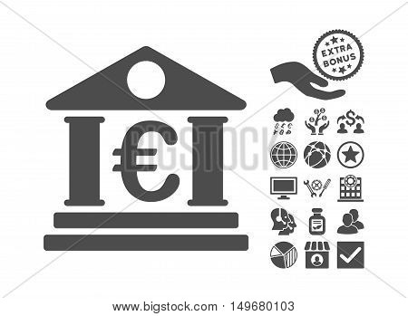 Euro Bank Building pictograph with bonus design elements. Vector illustration style is flat iconic symbols, gray color, white background.