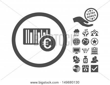Euro Barcode icon with bonus pictogram. Vector illustration style is flat iconic symbols, gray color, white background.