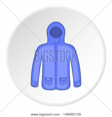 Mens winter jacket icon in cartoon style on white circle background. Clothing symbol vector illustration