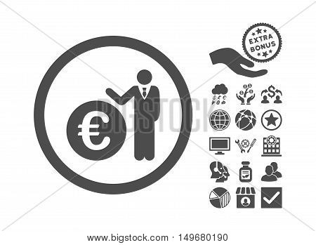 Euro Economist pictograph with bonus pictograph collection. Vector illustration style is flat iconic symbols, gray color, white background.