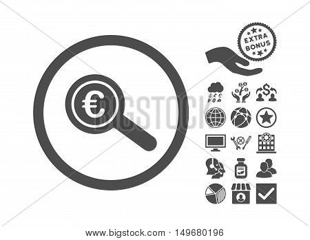 Euro Financial Audit icon with bonus clip art. Vector illustration style is flat iconic symbols, gray color, white background.