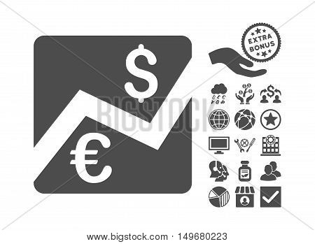 Euro Forex Market icon with bonus symbols. Vector illustration style is flat iconic symbols, gray color, white background.