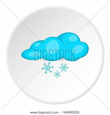 Clouds and snow icon in cartoon style on white circle background. Weather symbol vector illustration