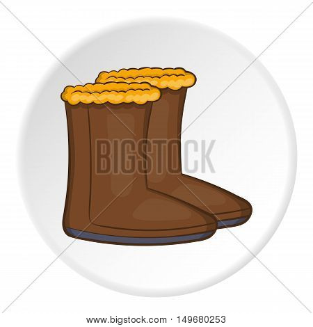 Felt boots icon in cartoon style on white circle background. Shoes symbol vector illustration