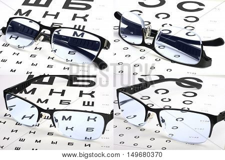 Various eyesight test charts and glasses set