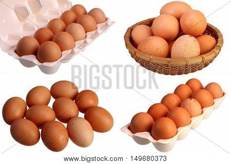 Ten brown hens eggs isolated on white background with clipping path set