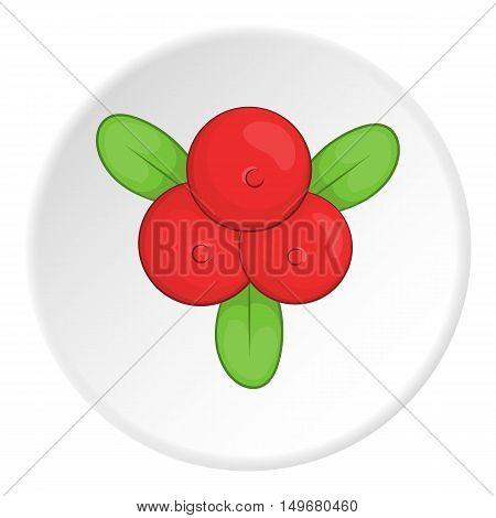 Berries icon in cartoon style on white circle background. Food symbol vector illustration