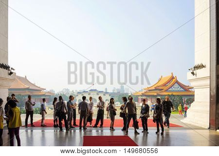 Taipei Taiwan - October 27 2015: A group of tourists looking around in Chiang Kai Shek Memorial Hall. This is one of Taipei's main tourist attraction.