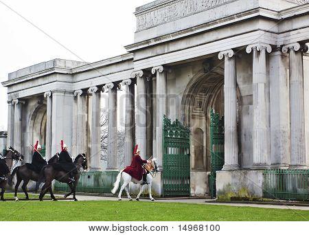 Horse Guard in winter Uniform in Hyde Park