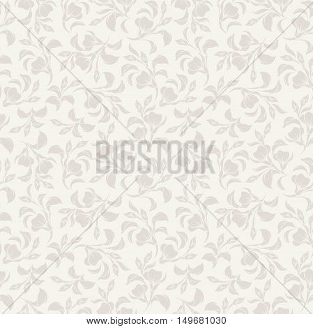 Vintage seamless beige floral pattern. Vector illustration.