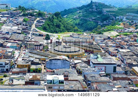 MANIZALES COLOMBIA - MAY 30: Cityscape view of Manizales Colombia as seen on May 30 2016