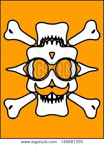 white devil skull with glasses and bones and yellow background