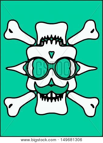 white devil skull with glasses and bones and green background