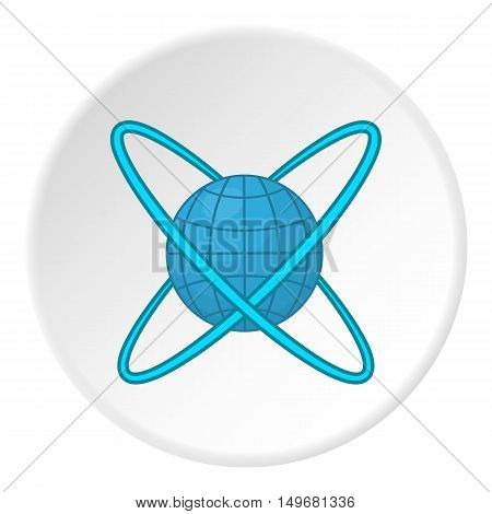 Around planet icon in cartoon style on white circle background. Research symbol vector illustration