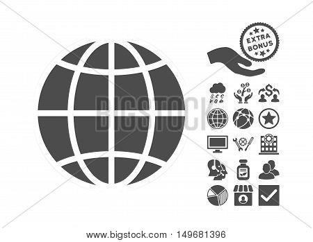 Globe icon with bonus images. Vector illustration style is flat iconic symbols, gray color, white background.