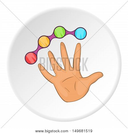 Knuckles with hand icon in cartoon style on white circle background. Tool symbol vector illustration