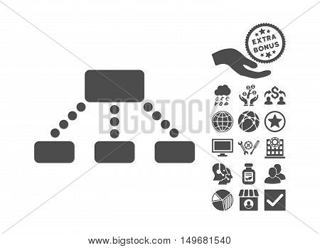Hierarchy icon with bonus pictures. Vector illustration style is flat iconic symbols, gray color, white background.