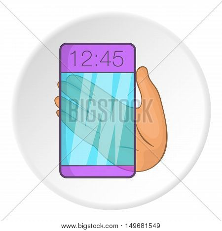 Transparent smartphone icon in cartoon style on white circle background. Technology symbol vector illustration