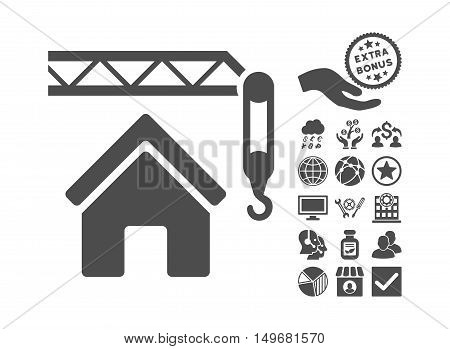 Home Construction pictograph with bonus pictograph collection. Vector illustration style is flat iconic symbols, gray color, white background.